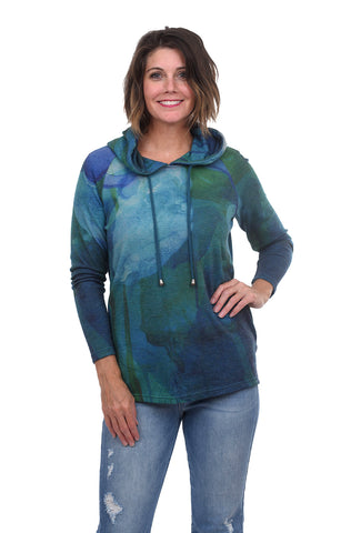 Brightly Plush Hoodie, Turq/Green