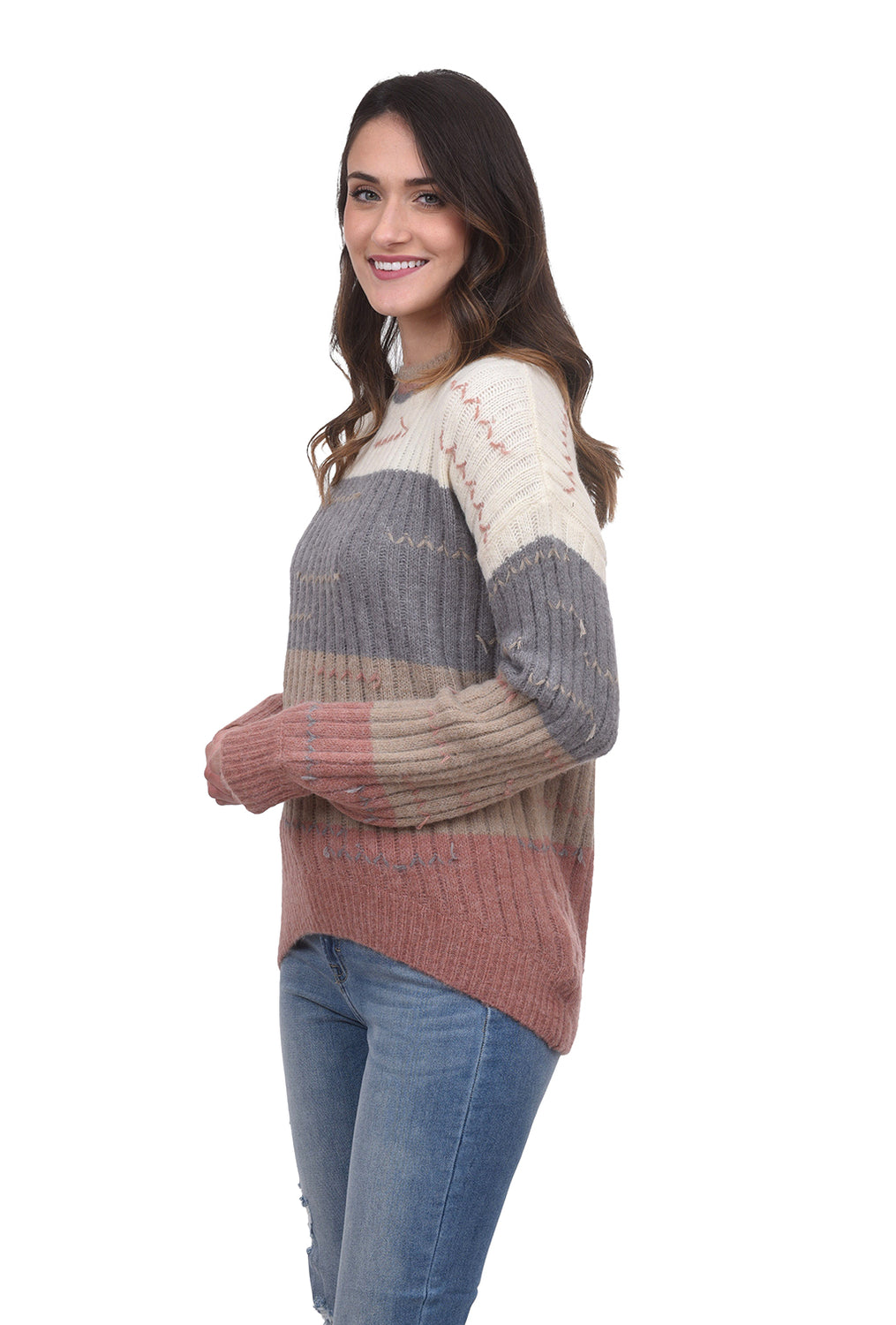 Color-Block Pulled Thread Sweater, Denim