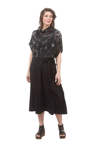 Drape Pocket Side-Tie Skirt, Black