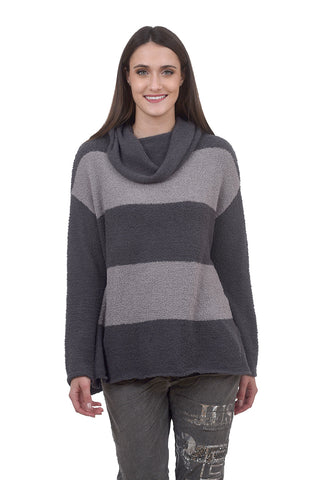 Plush Stripe Loose Pullover, Gray/Charcoal