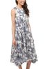 Toile Print Lady Dress, Ivory/Blue