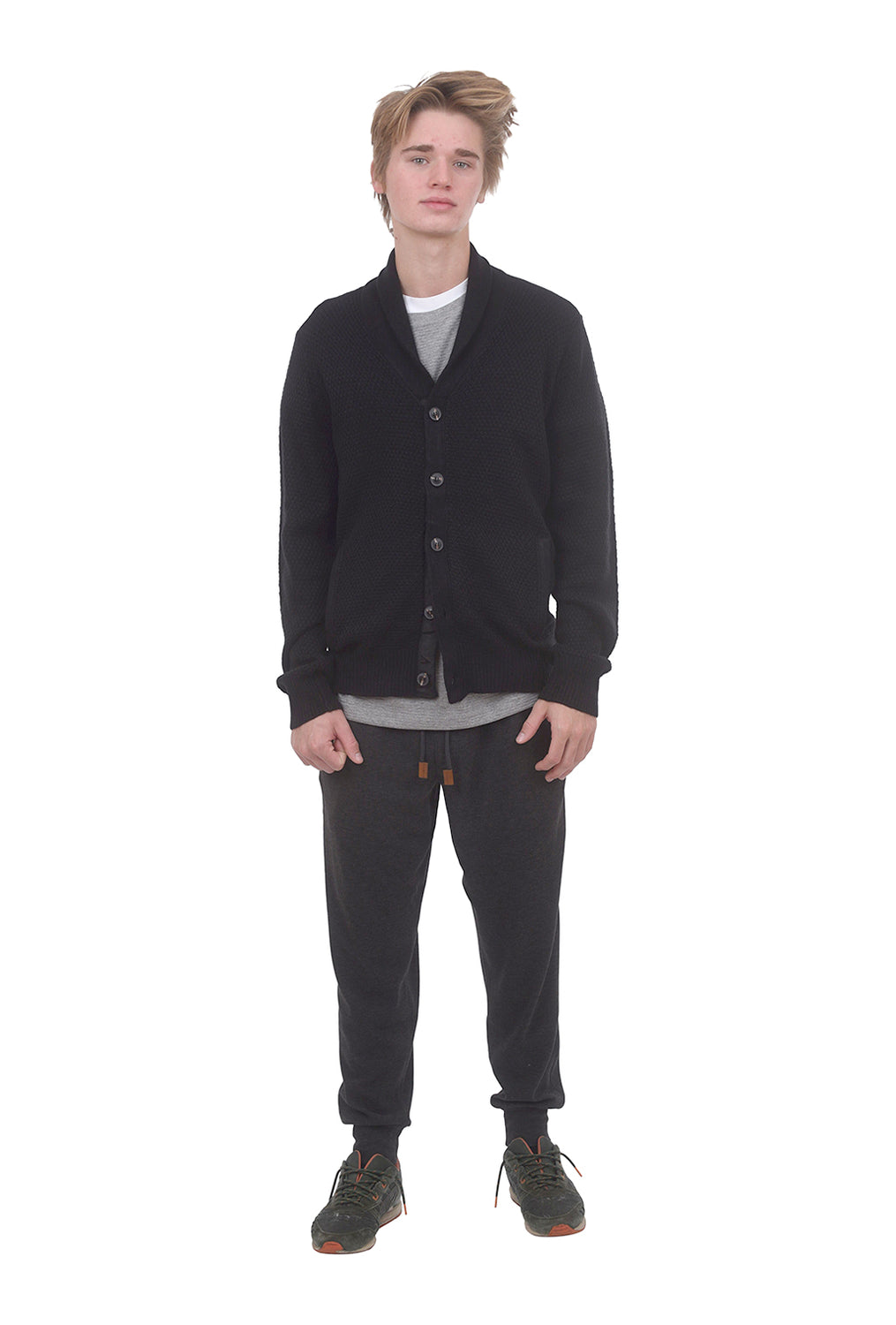 Shawl Collar Cardigan, Solid Black