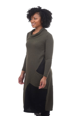 FT Lantern Cowl Dress, Khaki