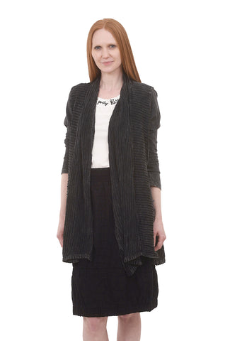 Wave Knit Details Cardie, Washed Black