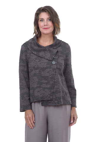 Abstract Jacquard Asym Jacket, Graphite
