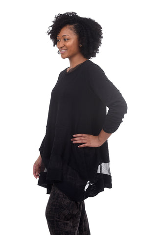 FT Mesh Inset Tunic, Black