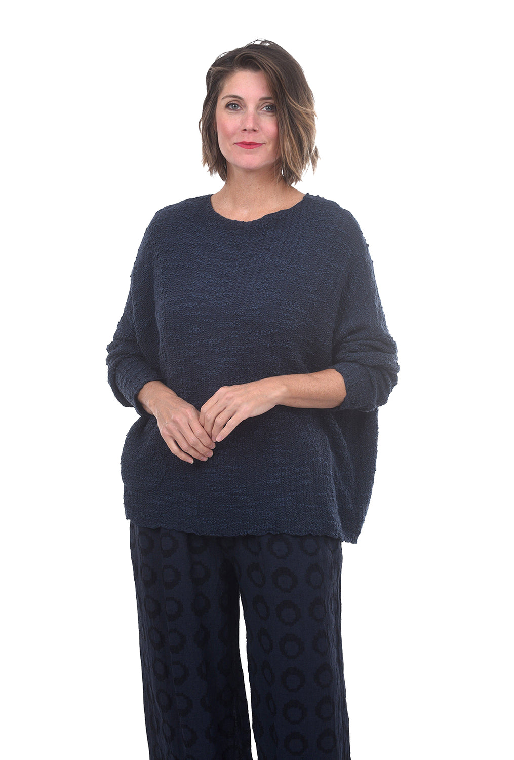 Texture Pullover Sweater, Blue Moon