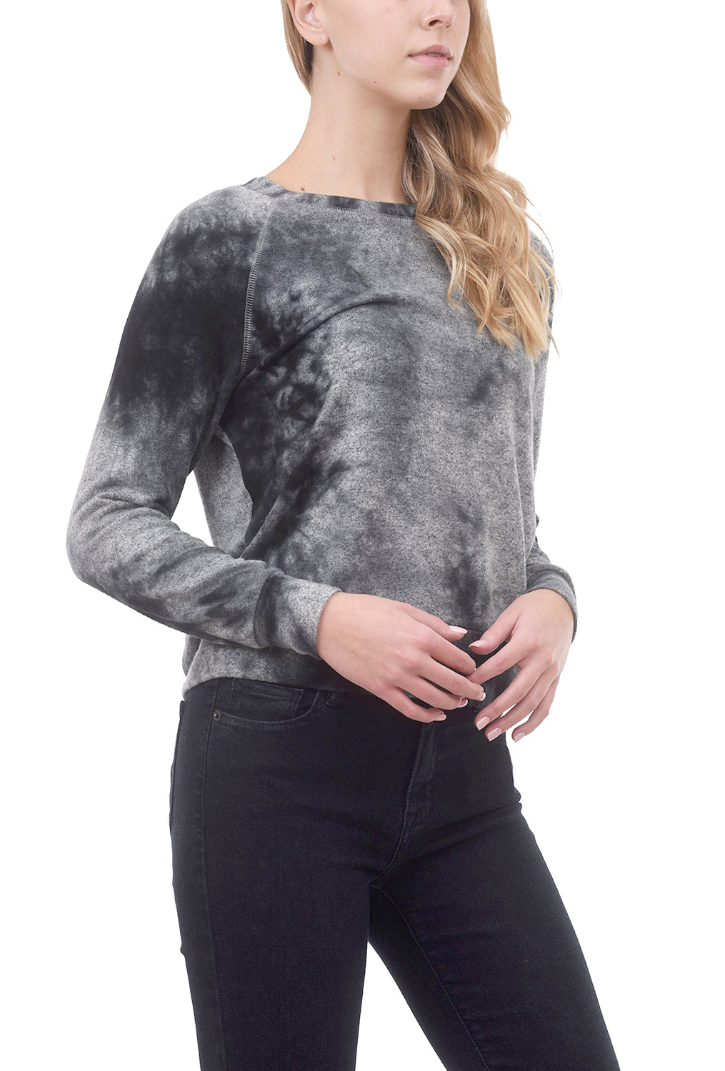 Cozy Tie-Dye Sweatshirt, Gray/Charcoal
