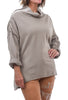 Zip-Detail Funnel Sweatshirt, Beige