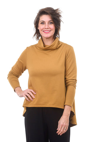 Hi-Low Funnel Neck Top, Mustard