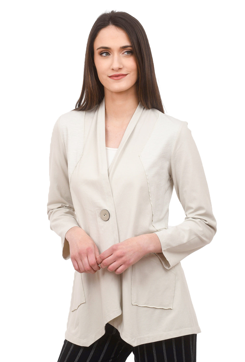 Button Shawl Jacket, Putty
