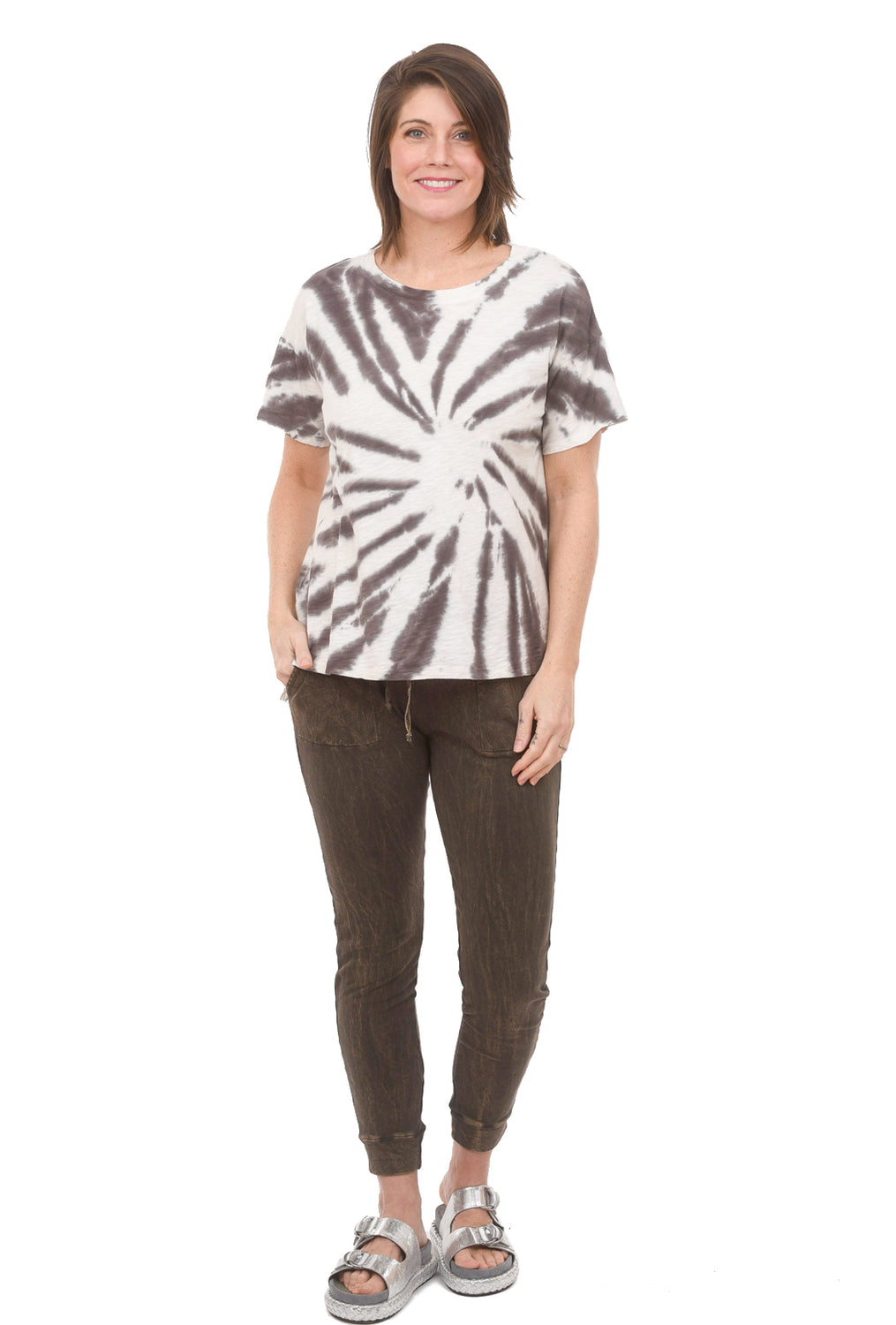 Open Crew Tie-Dye Tee, Brown Agate