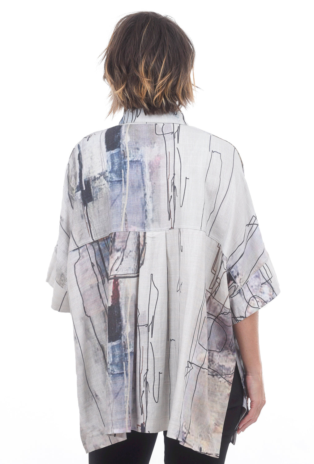 Linen Abstract Print Top, Gray