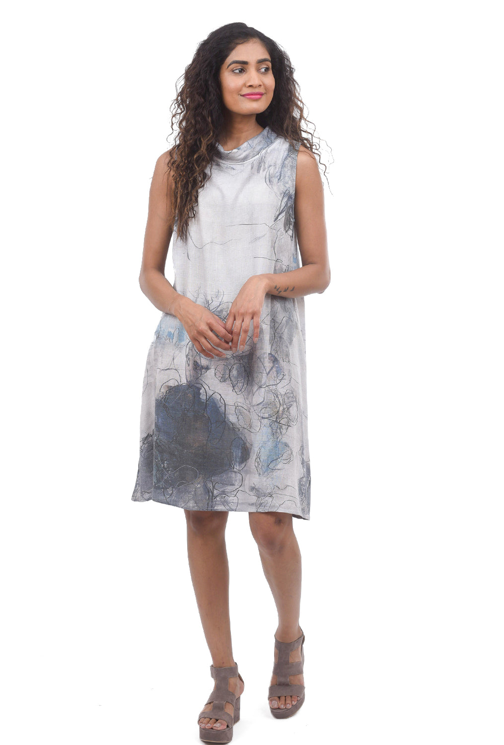Abstract Print Linen Dress, Lilac