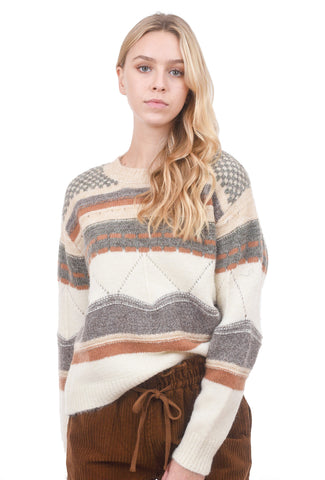 Colorado Knit Sweater, Taupe/Cream