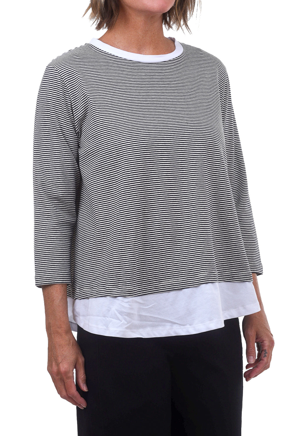 Layered Stripe Tee, Black/White