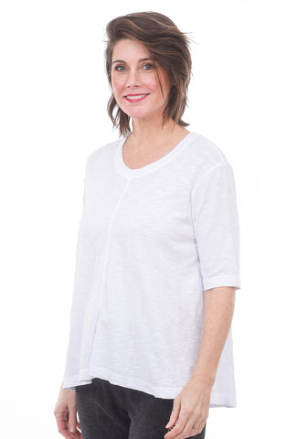 Elbow-Sleeve Trapeze Tee, White