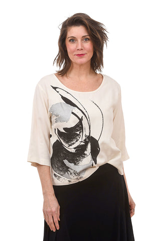 Painterly 3/4 Sleeve Boxy Top, Ecru