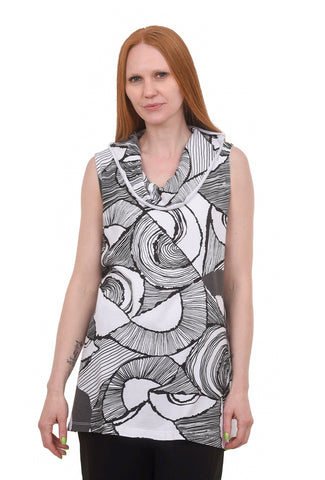 Cotton Print Cowl Tank, White/Black