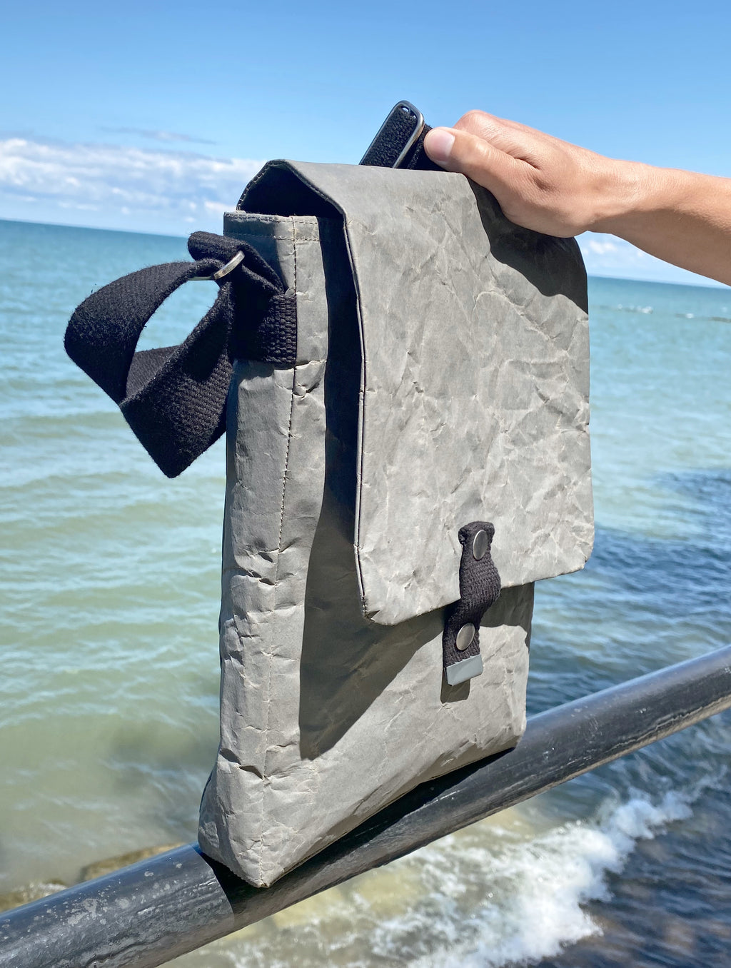 Cement Paper Sling Bag, Gunmetal