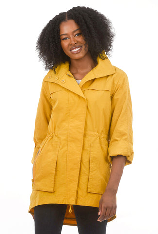 Crinkle Nylon Anorak, Curry Yellow