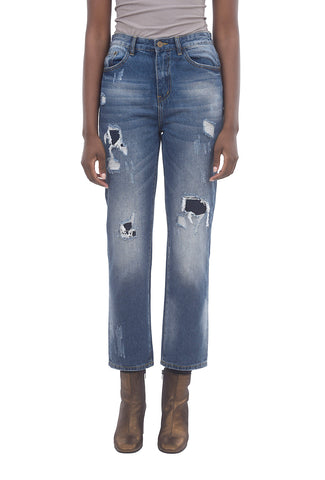 Patchy High-Rise Jeans, Blue