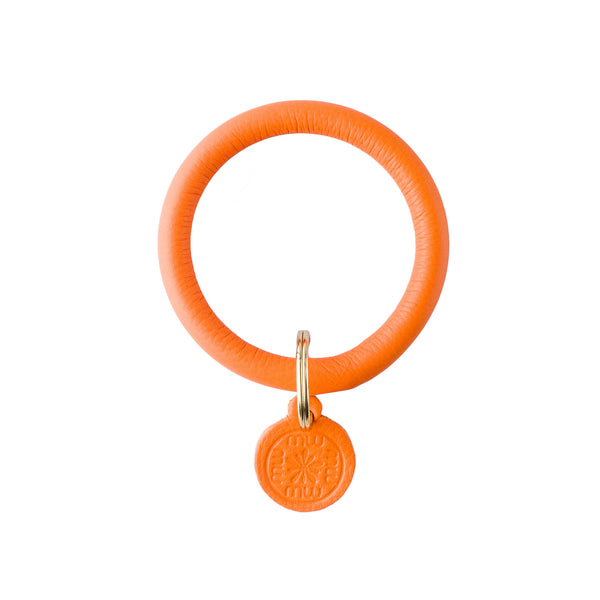 Signature Leather Keyring Bracelet - Tangerine