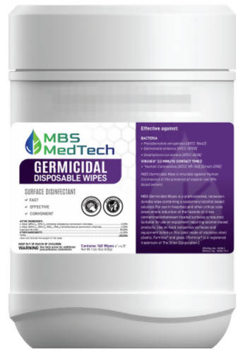 MBS MedTech Germicidal Disposable Wipes 6″ x 6.75″ 160 count, Case of 12 Canisters or Pallet of 45 Cases (540 Canisters)