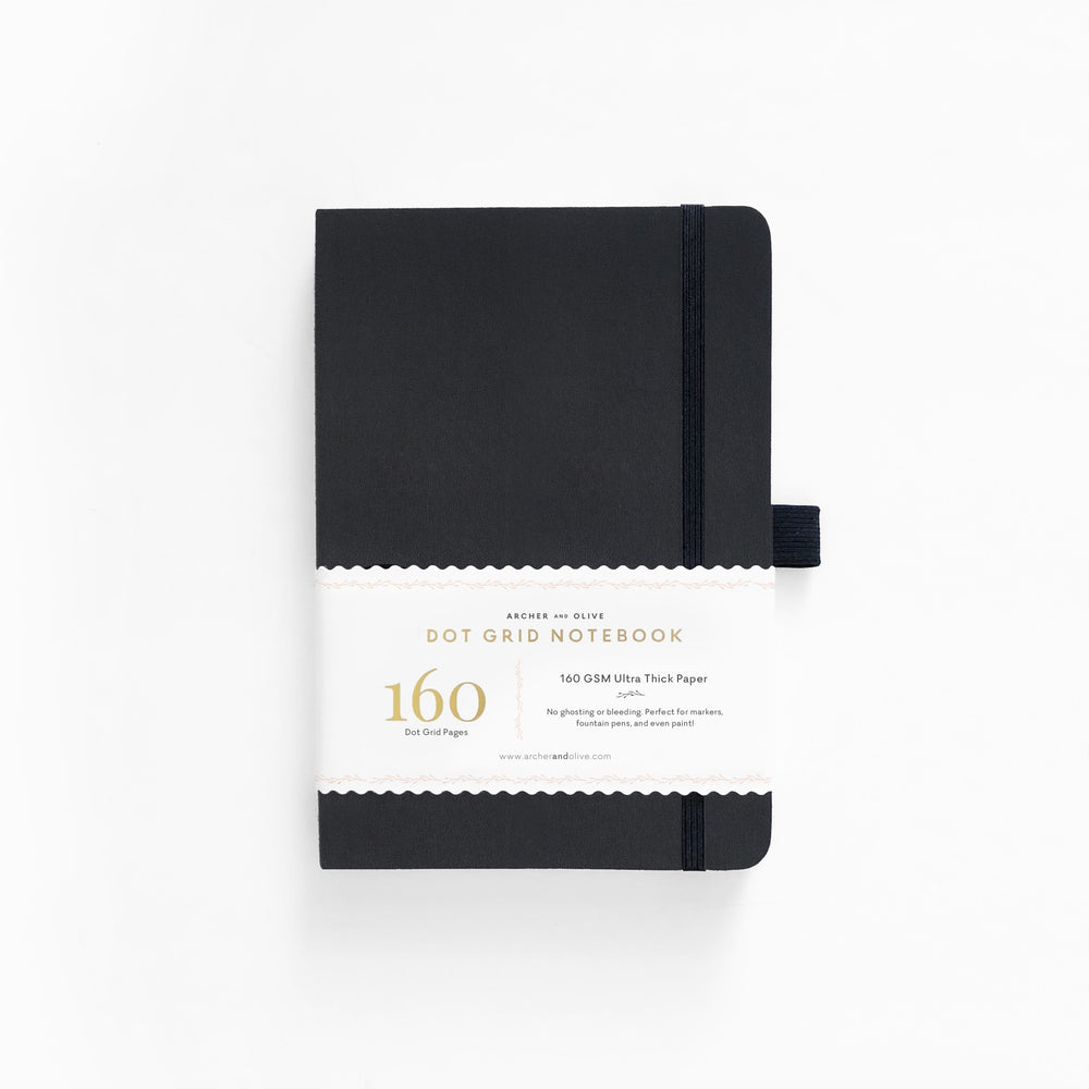 Black Leatherette Dot Grid Notebook - A5
