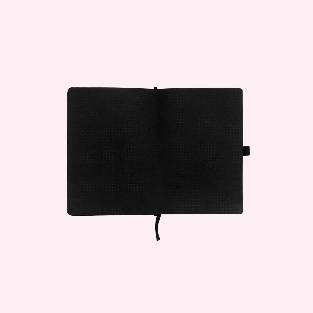 Blackout! - Silver Crescent Dot Grid Notebook - A5 - Bujoish
