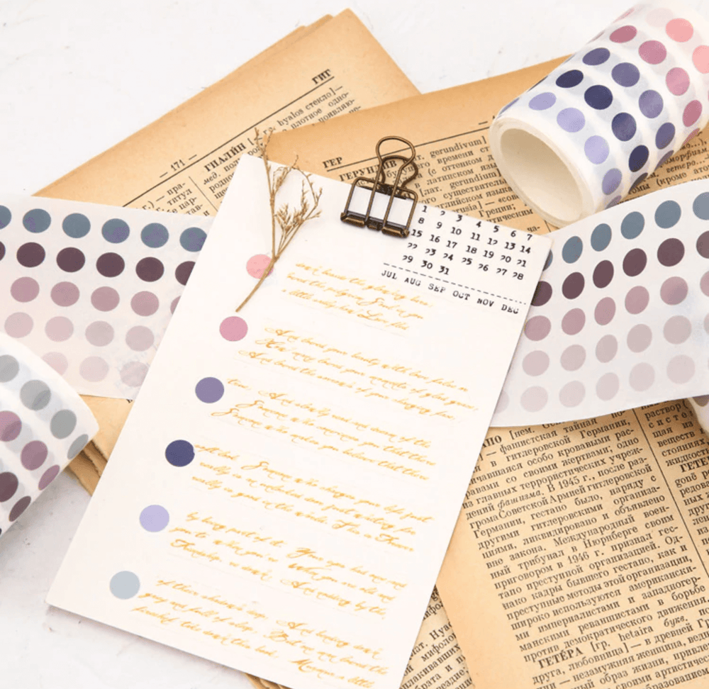 Load image into Gallery viewer, Colourful Dot Washi Stickers - Charcoal - Bujoish