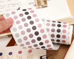 Colourful Dot Washi Stickers - Languid Lavender - Bujoish