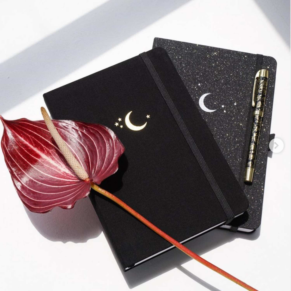 Blackout! - Silver Crescent Dot Grid Notebook - A5