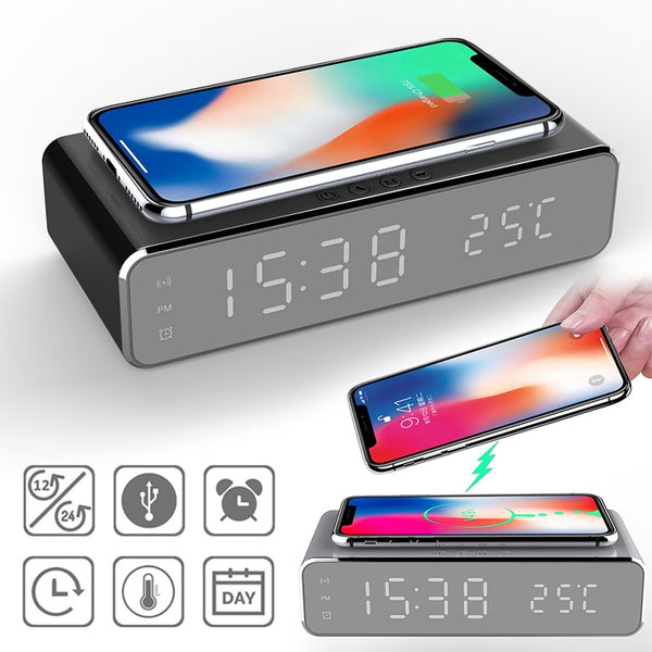 Wireless Charging LED Alarm Clock