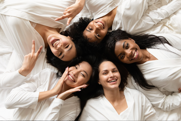 Group of women with naturally healthy skin