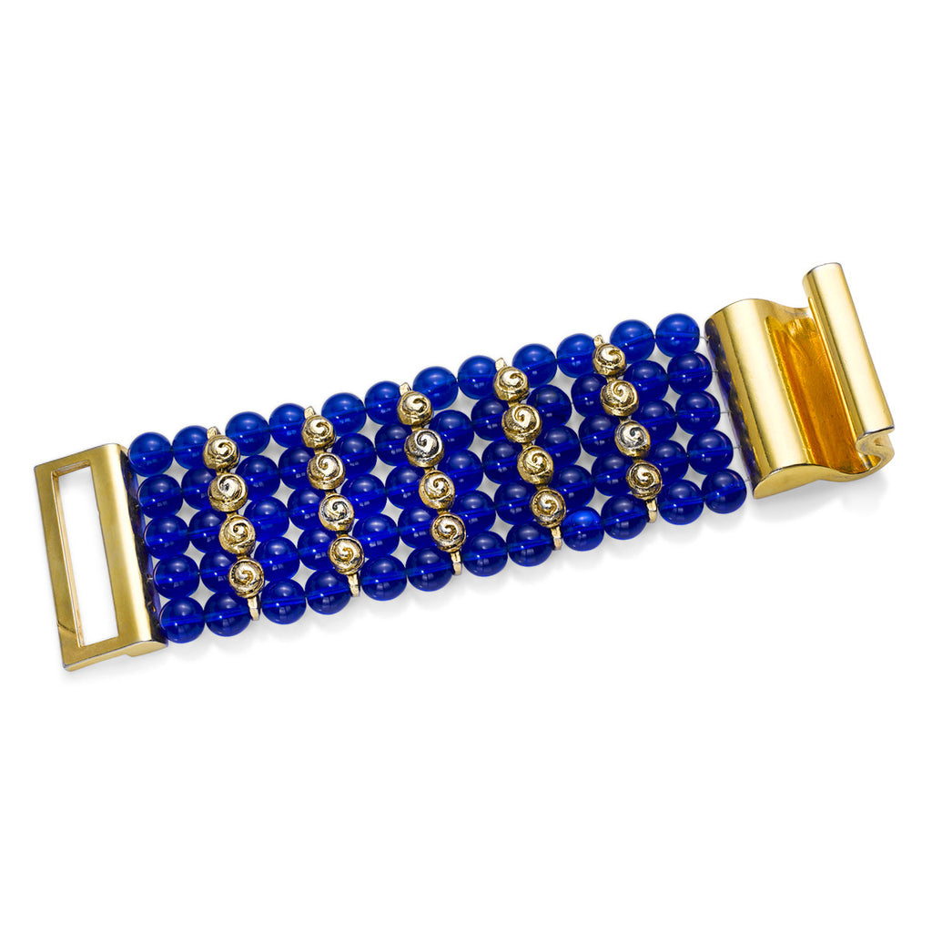 VINTAGE GOLD TONE WITH BLUE GLASS BEADS BRACELET CIRCA 1980'S