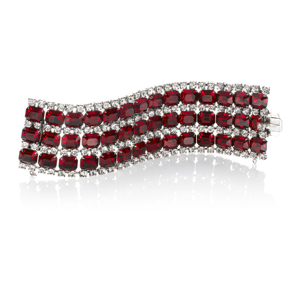 VINTAGE DIAMANTE AND RED WIDE BRACELET CIRCA 1960'S