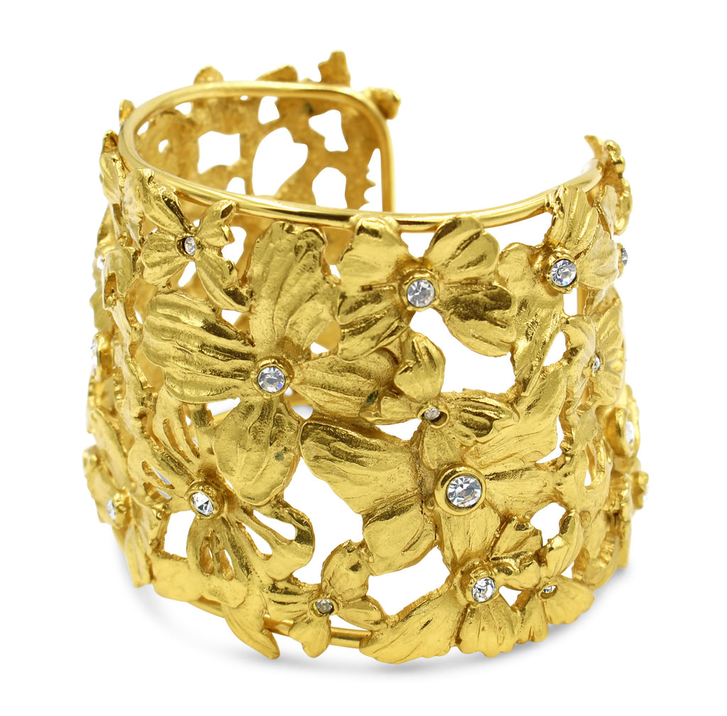 VINTAGE YSL DIAMANTE AND GOLD TONE BUTTERFLY CUFF CIRCA 1980'S