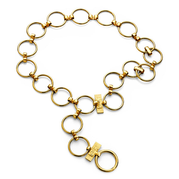 VINTAGE YSL GOLD TONE ICONIC RING CHAIN BELT OR NECKLACE CIRCA 1970'S