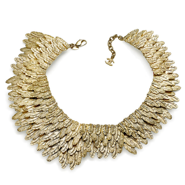 COLLECTIBLE CHANEL COUTURE GOLD TONE WHEAT COLLAR CIRCA MID 2000'S