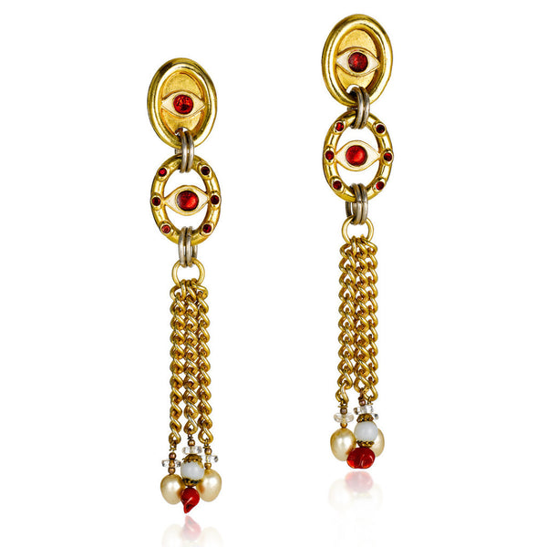 VINTAGE BILLY BOY GOLD TONE WITH RED DIAMANTE DANGLING LONG EARRINGS CIRCA 1980'S