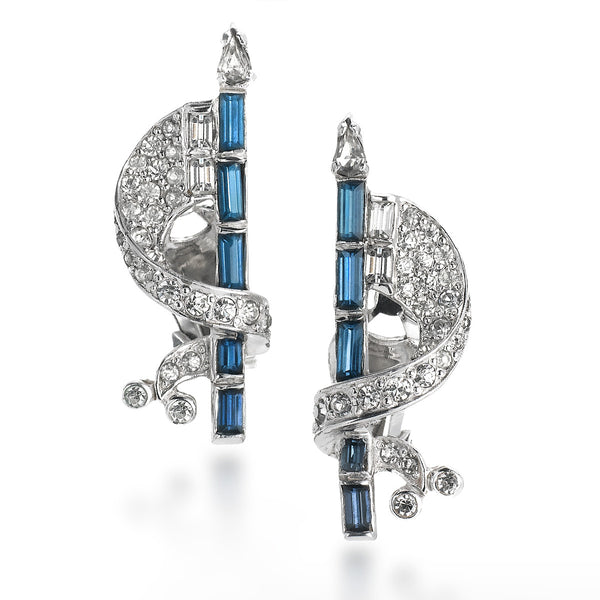 VINTAGE MAZER DIAMANTE AND BLUE EARRINGS CIRCA 1960'S