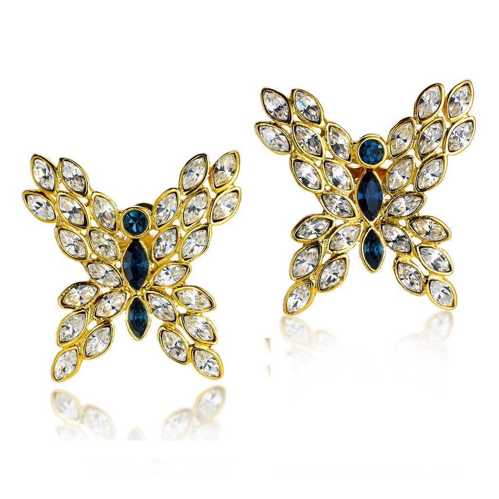 VINTAGE VALENTINO DIAMANTE GOLD TONE BUTTERFLY EARRINGS CIRCA 1980'S