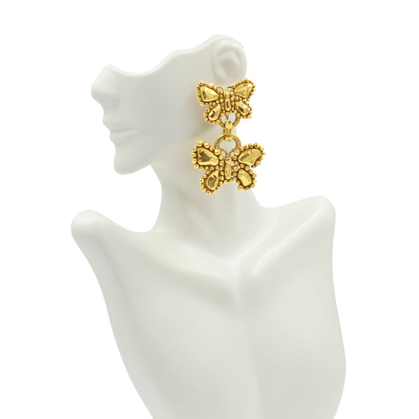 VINTAGE UNGARO GOLD TONE BUTTERFLY DANGLING EARRINGS CIRCA 1980'S