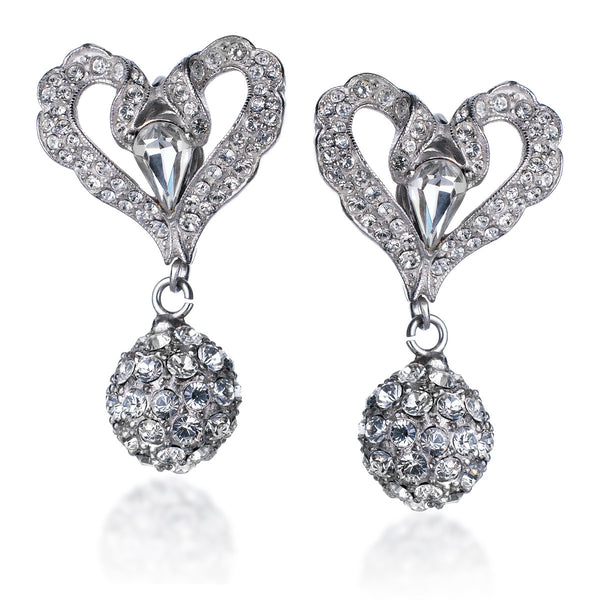 VINTAGE DIAMANTE BALL DROP EARRINGS CIRCA 1960'S