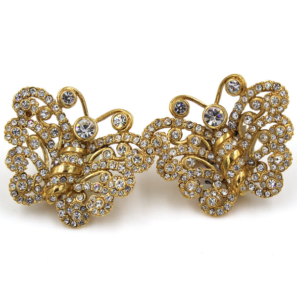 VINTAGE CHRISTIAN DIOR DIAMANTE AND GOLD TONE BUTTERFLY EARRINGS, CIRCA 1980'S