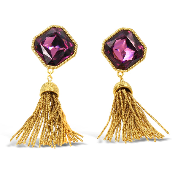 VINTAGE NAPIER GOLD TONE TASSEL EARRINGS WITH PURPLE GLASS STONE CIRCA 1980'S