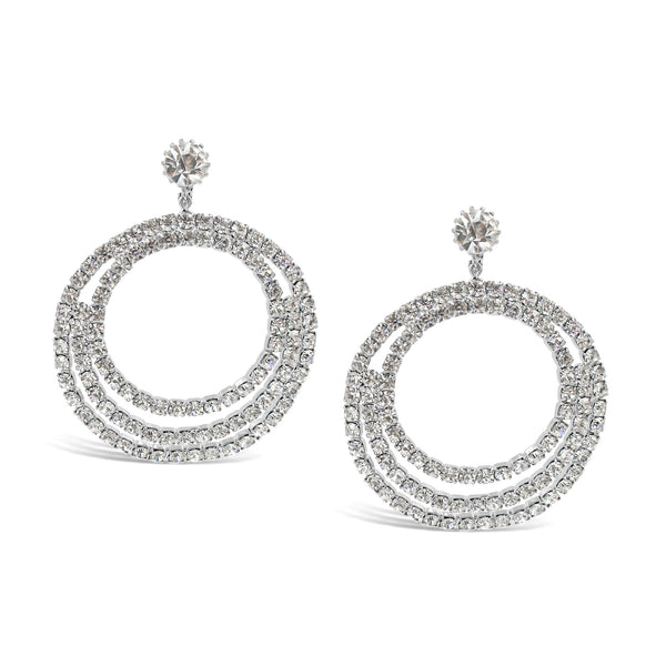 VINTAGE RHINESTONE DANGLING HOOP EARRINGS