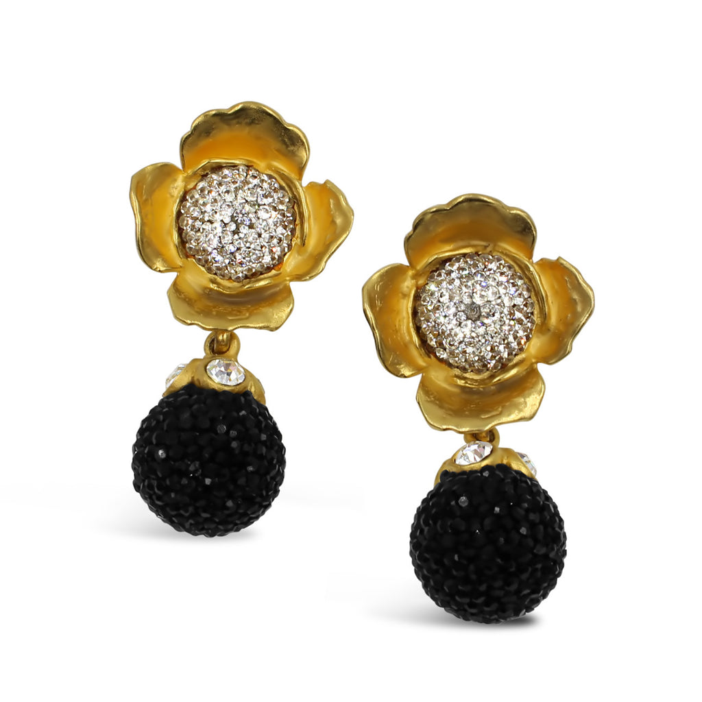 VINTAGE DEANNA HAMRO BLACK DIAMANTE IN GOLD TONE FLOWER EARRINGS CIRCA 1980'S