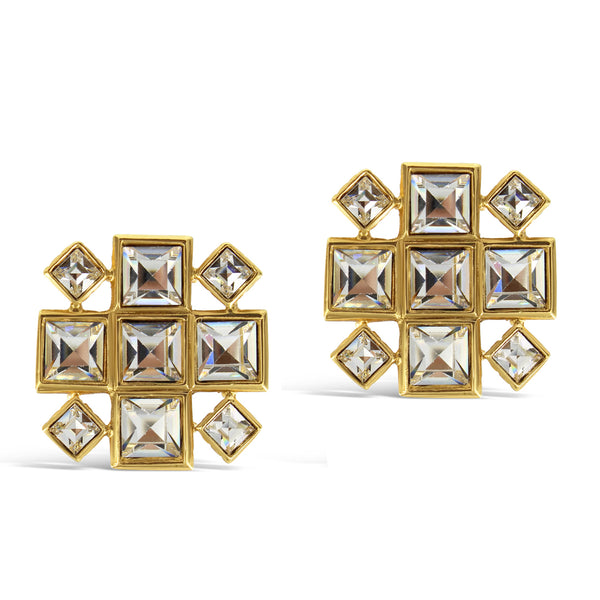 VINTAGE YSL CRYSTAL WITH GOLD TONE EARRINGS CIRCA 1980'S